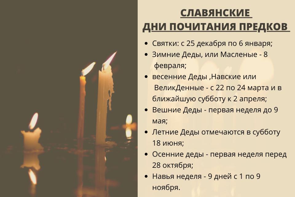 славянские дни почитания предков